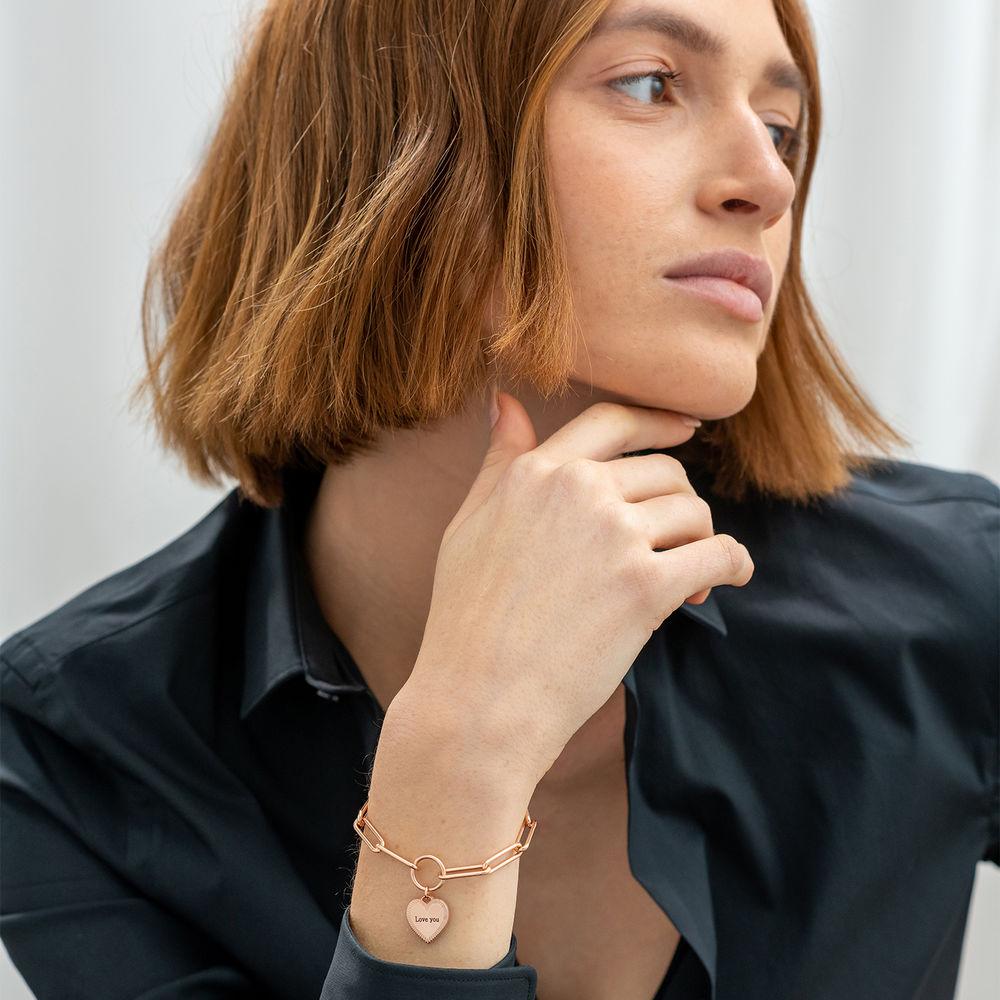 Heart Pendant Link Bracelet in Rose Gold Plating - 1