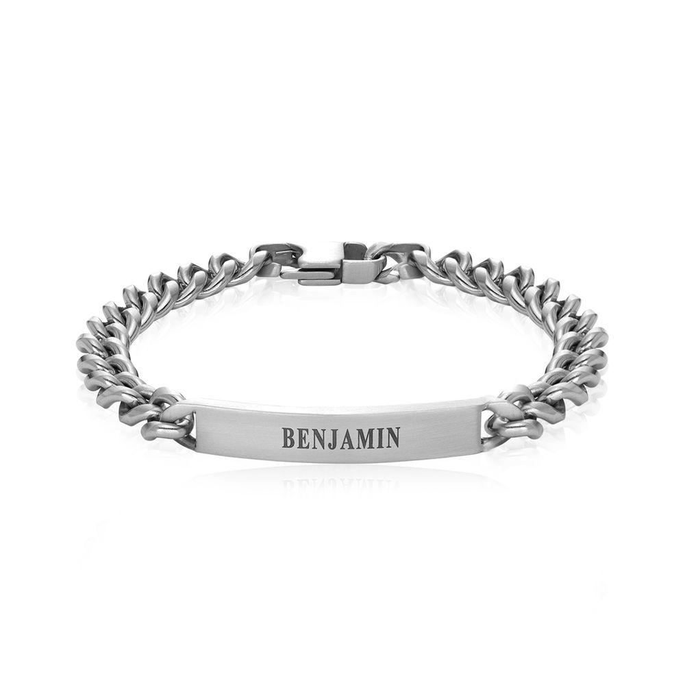 Men's Curb Chain ID Bracelet in Matte Sterling Silver