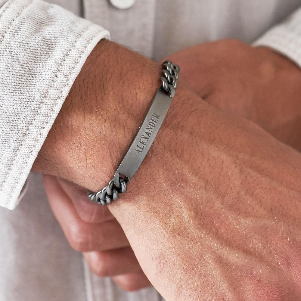 Men's Curb Chain ID Bracelet in Sterling Silver Oxide - 2