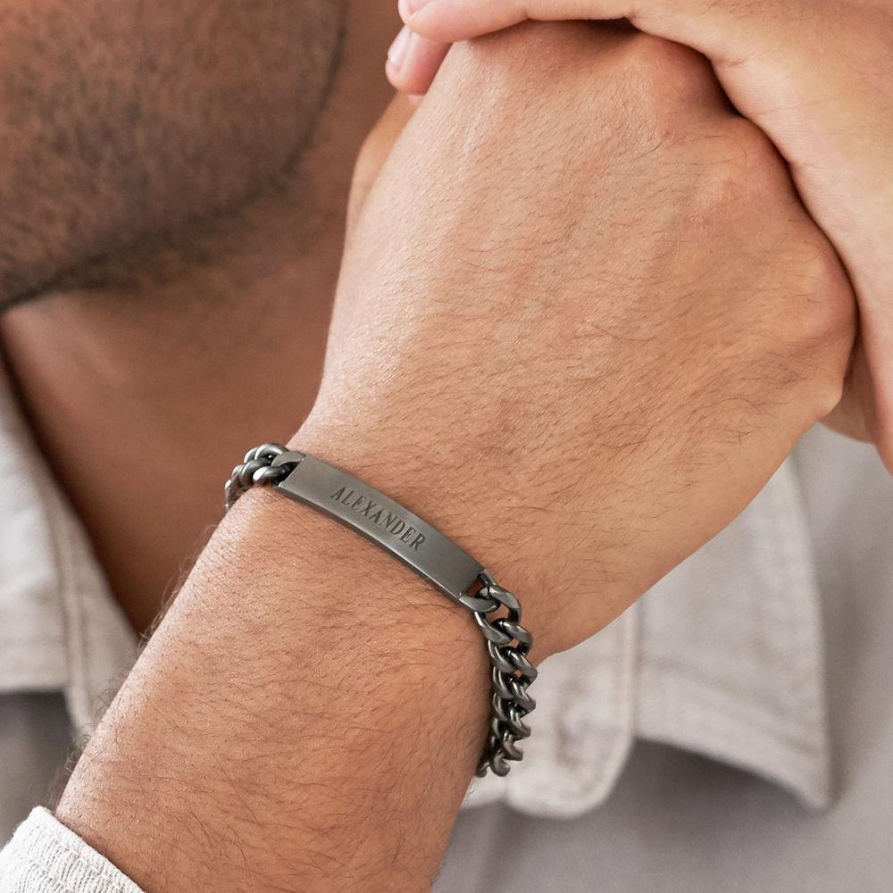 Men's Curb Chain ID Bracelet in Sterling Silver Oxide - 3