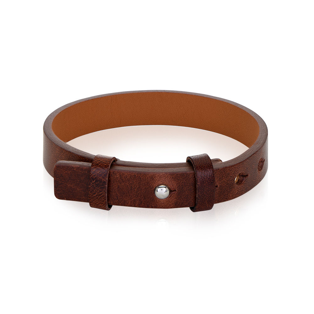 Men's Total Brown Leather Name Bracelet - 1