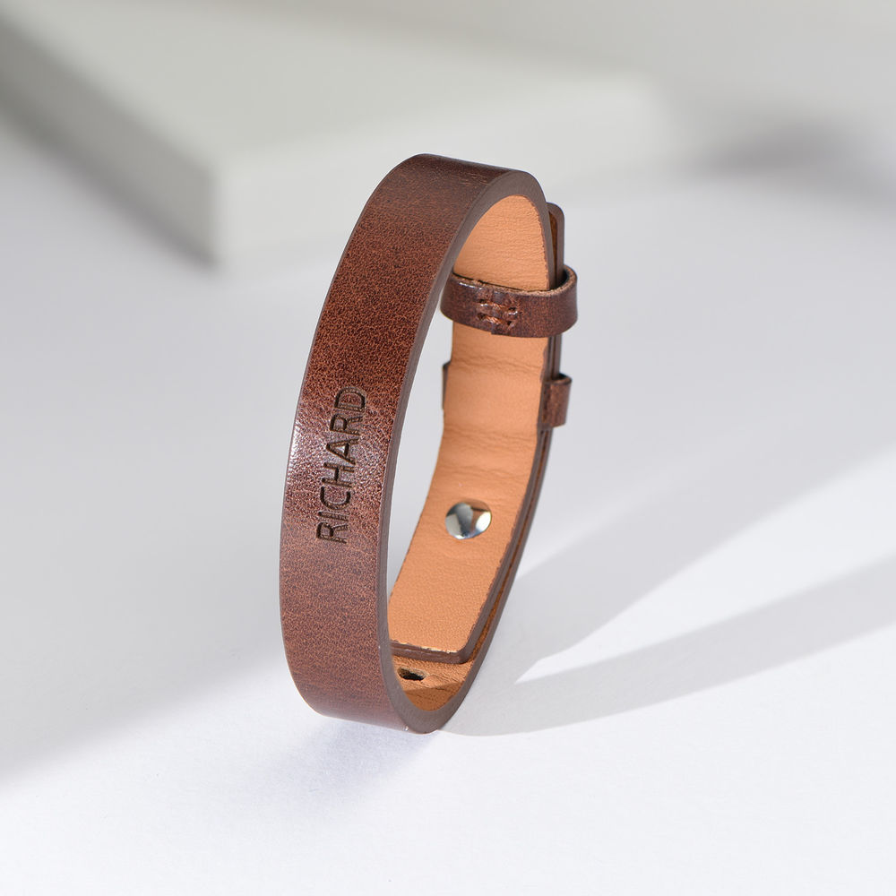 Men's Total Brown Leather Name Bracelet - 2