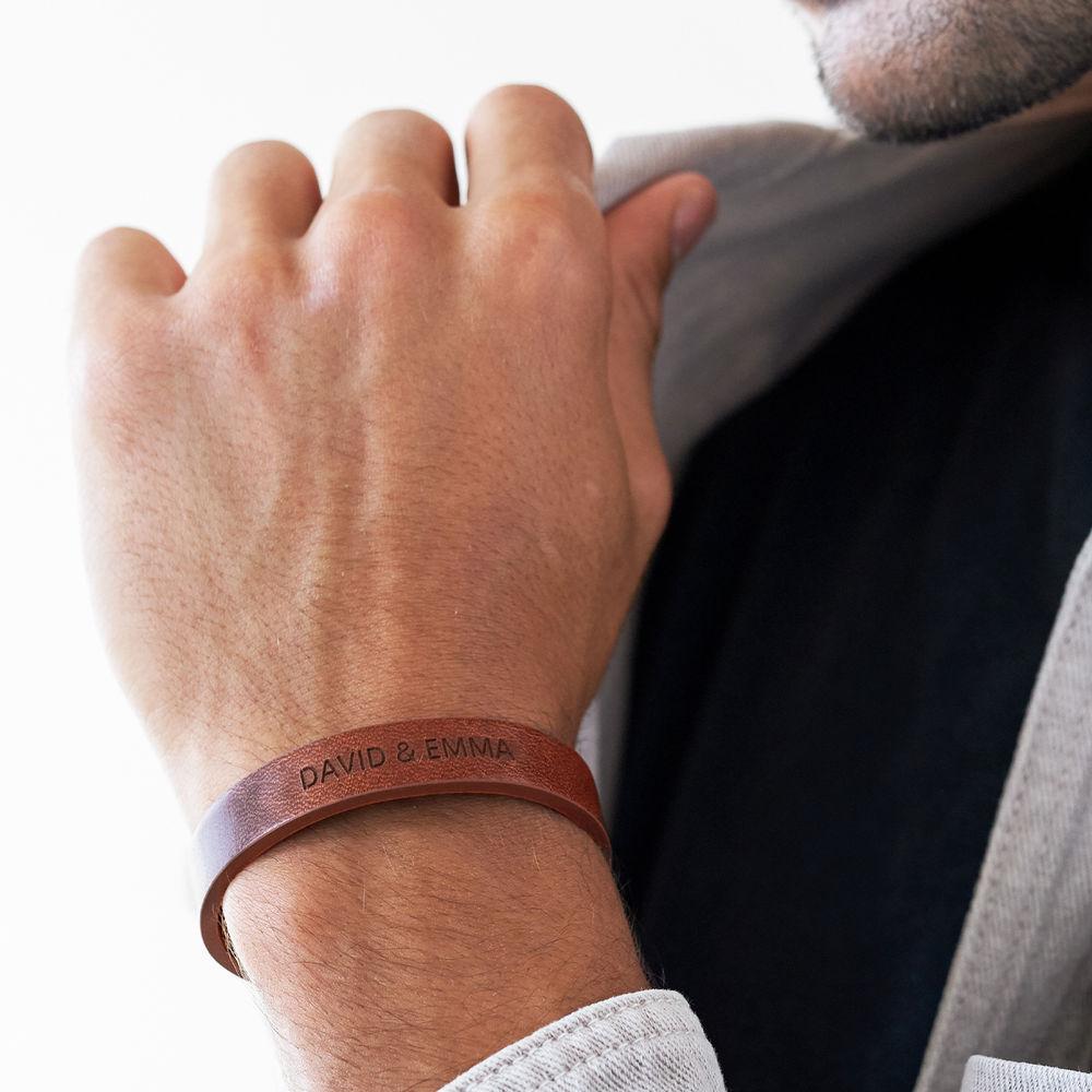 Men's Total Brown Leather Name Bracelet - 3