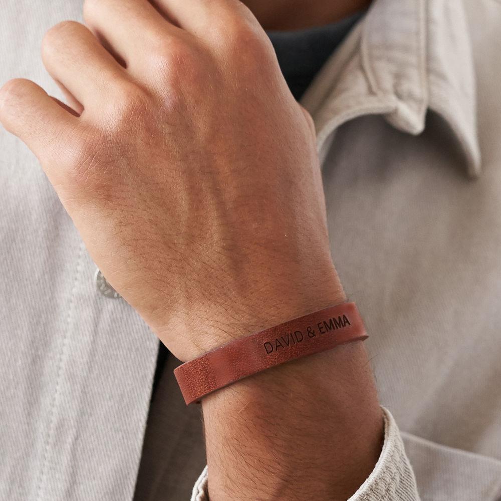 Men's Total Brown Leather Name Bracelet - 4