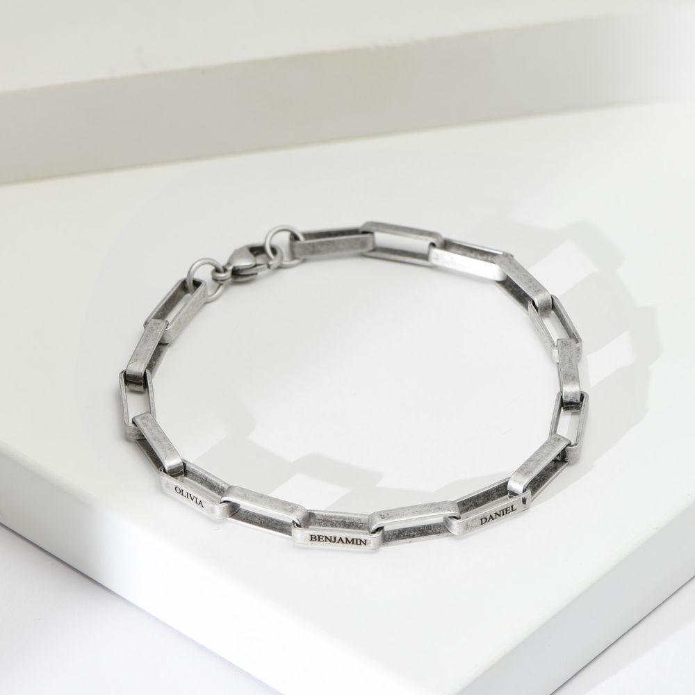Custom Square Link Men Bracelet in Matte Silver - 1