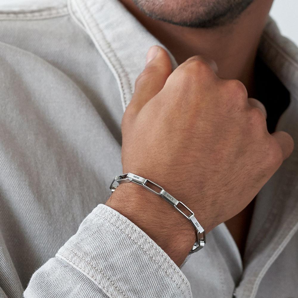 Custom Square Link Men Bracelet in Matte Silver - 2