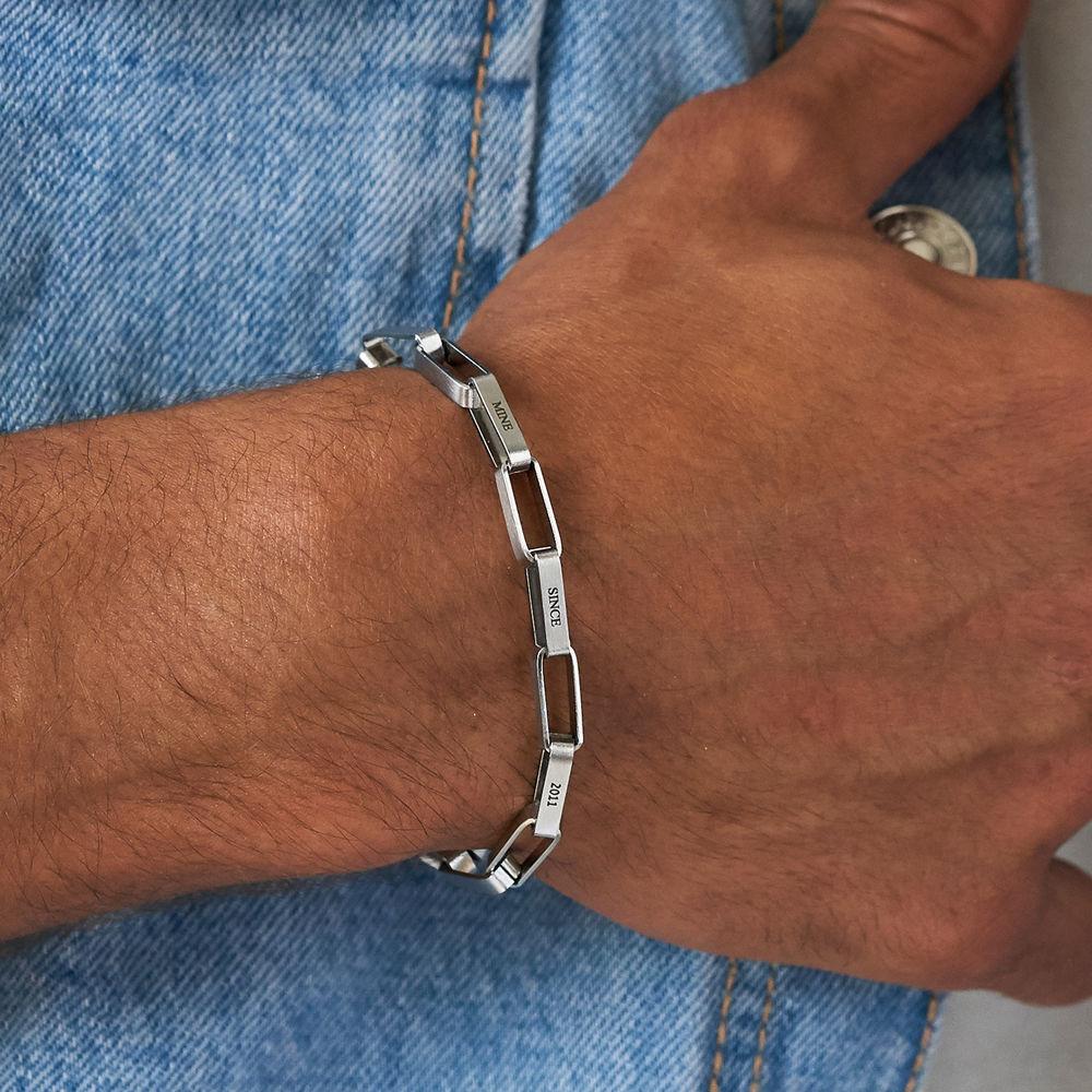 Custom Square Link Men Bracelet in Matte Silver - 3