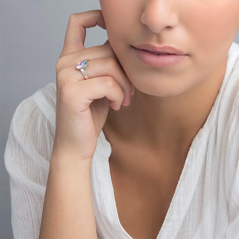 Personalised Birthstone Ring in Silver - 2