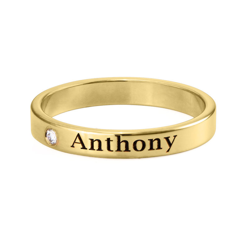 Stackable Name Ring in Gold Plating with Diamond - 1