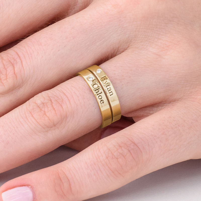 Stackable Name Ring in Gold Plating with Diamond - 4