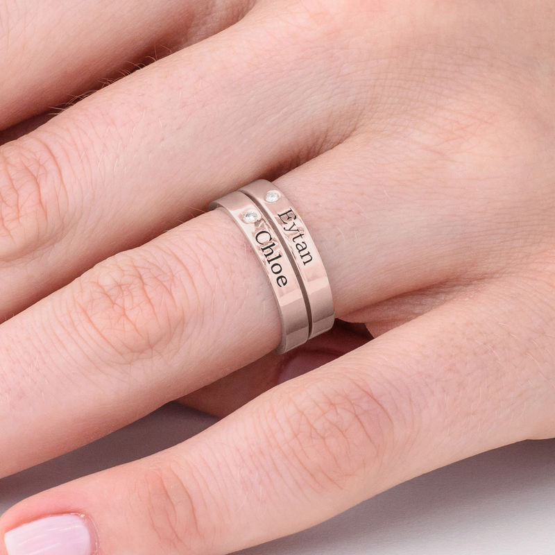 Stackable Name Ring in Rose Gold Plating with Diamond - 4