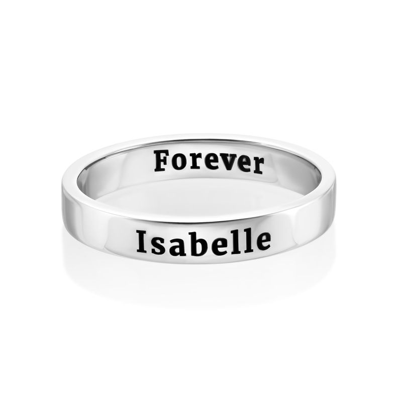 Engraved Thin Band Ring in Sterling Silver - 1
