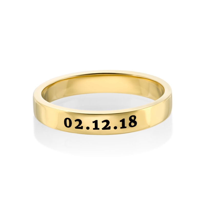 Engraved Thin Band Ring in Gold Plating - 2