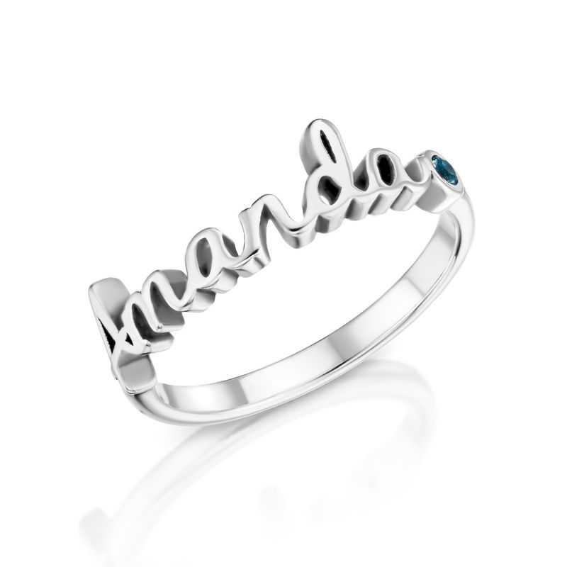 Personalised Birthstone Name Ring in Sterling Silver