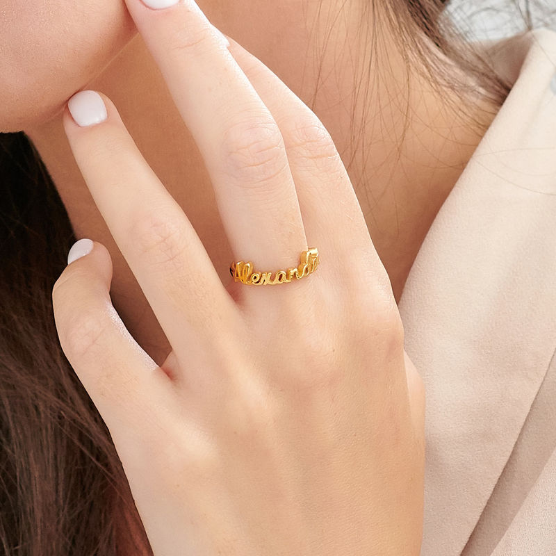 Personalised Birthstone Name Ring in Gold Plating - 3