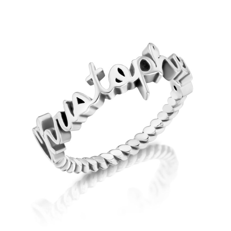 Personalised Birthstone Name Ring with Rope Band in Sterling Silver