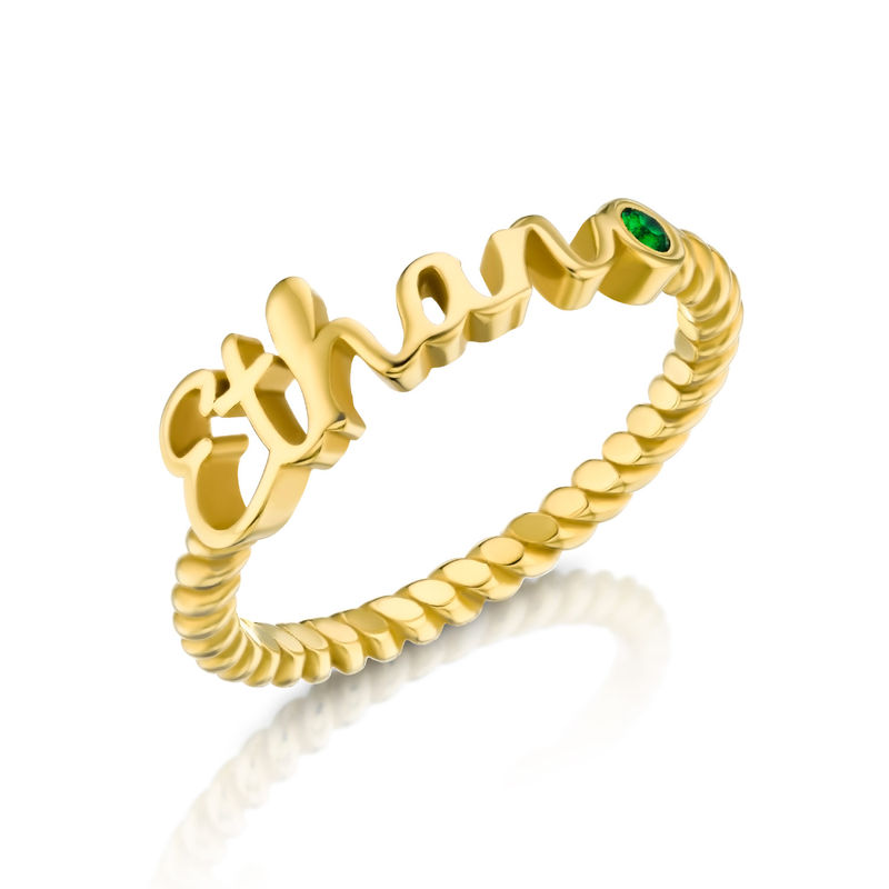 Personalised Birthstone Name Ring with Rope Band in Gold Plating