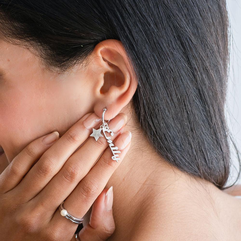 Siena Drop Name Earrings in Sterling Silver - 1