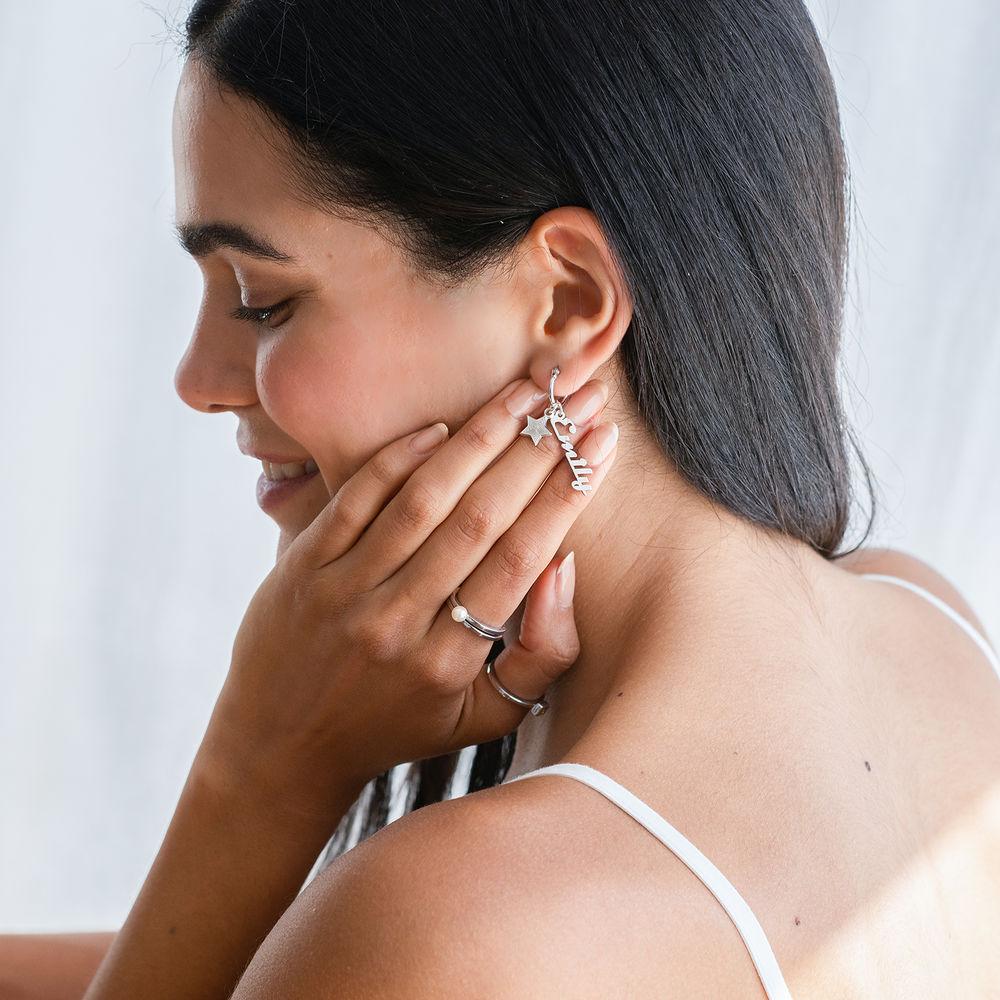 Siena Drop Name Earrings in Sterling Silver - 2