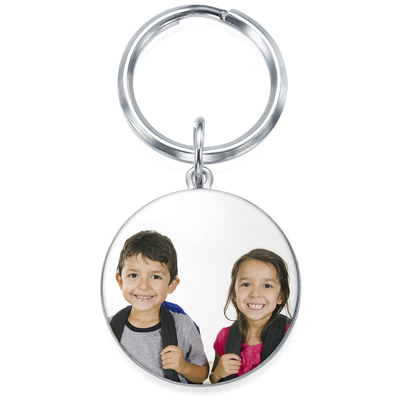 Engraved Round Photo Keyring in Sterling Silver