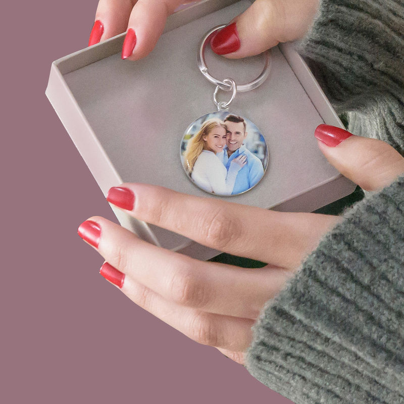 Engraved Round Photo Keyring in Sterling Silver - 5