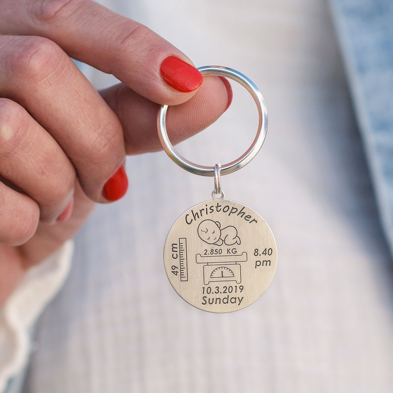 Personalised Engraved Baby Birth Keyring in Sterling Silver - 3
