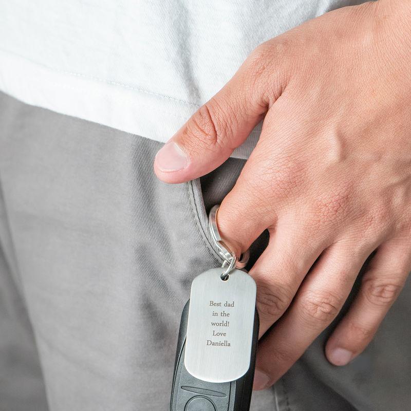 Engraved Dog Tag Keyring for Men - 2