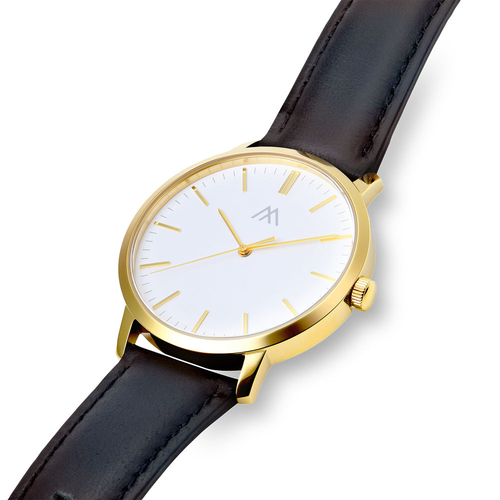 Hampton Engraved Minimalist Watch for Men with Black Leather Strap - 1
