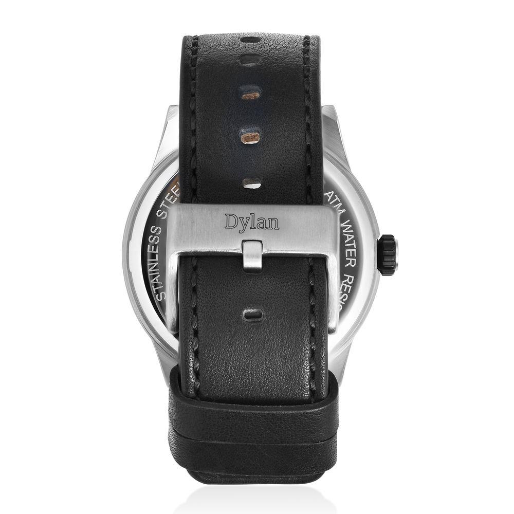Odysseus Day Date Minimalist Leather Strap Watch - 2