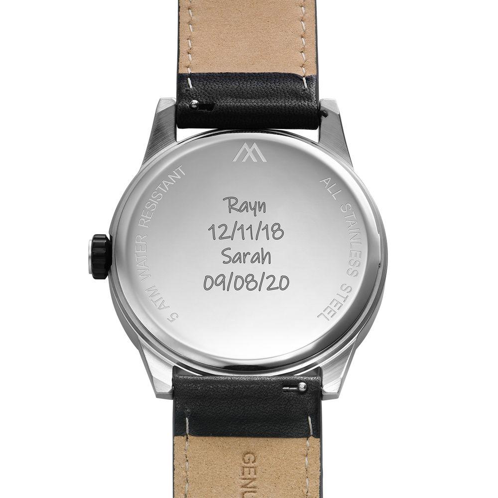 Odysseus Day Date Minimalist Leather Strap Watch - 4