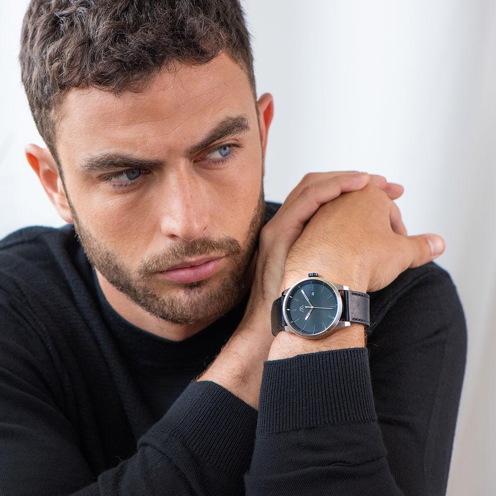 Odysseus Day Date Minimalist Leather Strap Watch - 5