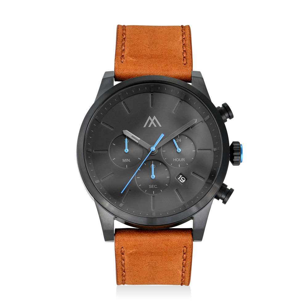 Quest Chronograph Leather Strap Watch for Men with Black Dial
