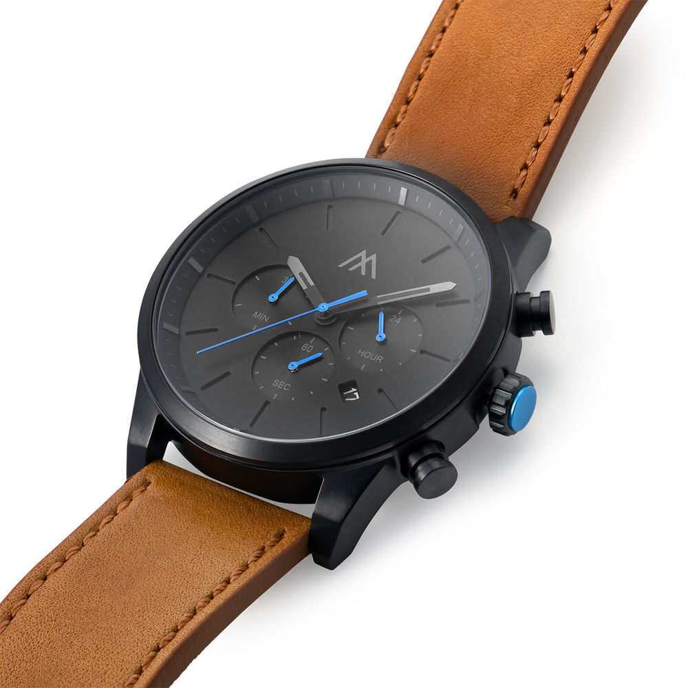 Quest Chronograph Leather Strap Watch for Men with Black Dial - 1