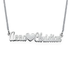 Double Strength Couples Name Necklace in Sterling Silver product photo