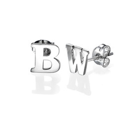 Print Initial Stud Earrings in Silver product photo