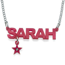 L.A. Style Acrylic Name Necklace with Charm product photo