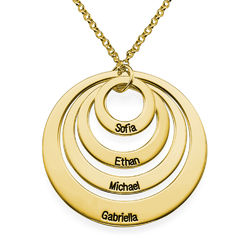 Four Open Circles Necklace with Engraving in Gold Plating product photo