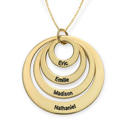 Four Open Circles Necklace with Engraving in 10ct Yellow Gold product photo