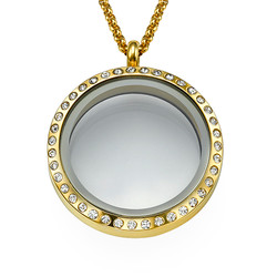 Gold Plated Round Locket Necklace with Crystals product photo