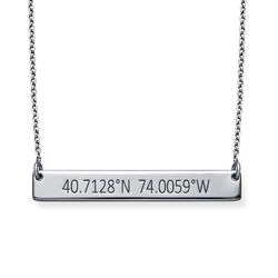 Engraved Coordinates Bar Necklace in Silver product photo