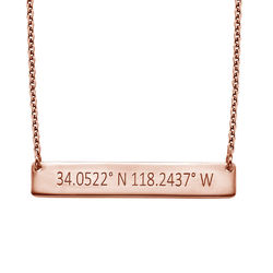 Engraved Coordinates Bar Necklace - Rose Gold Plating product photo