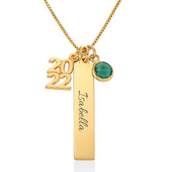 Personalised Charms Graduation Necklace in Gold Vermeil product photo