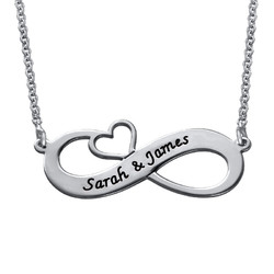 Engraved Infinity Necklace with Cut Out Heart product photo