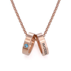 Rose Gold Plating Mother Ring Necklace with Engraving product photo