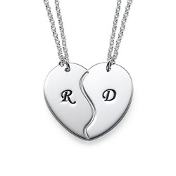 Breakable Heart Necklaces with Engraved Initials product photo