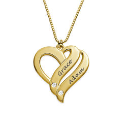 Two Hearts Forever One Necklace Gold Plated with Diamonds product photo