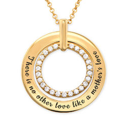 Engraved Circle Necklace in Gold Plating product photo