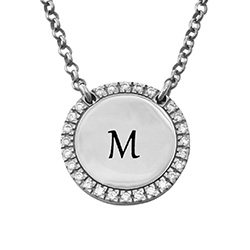 Personalised Round Cubic Zirconia Necklace in Silver product photo