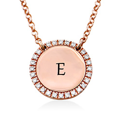 Personalised Round Cubic Zirconia Necklace in Rose gold Plating product photo