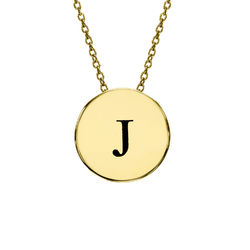 Initial Thick Disc Necklace in Gold Plating product photo